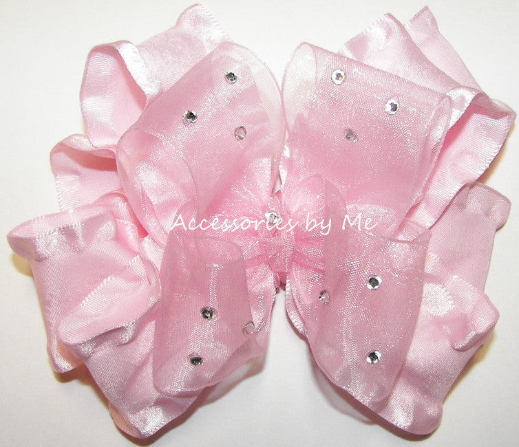 Glitzy Light Pink Organza Ruffle Hair Bow - Accessories by Me