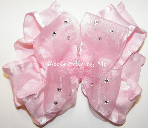 Glitzy Light Pink Organza Ruffle Hair Bow
