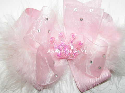 Glitzy Light Pink Marabou Tiara Hair Bow