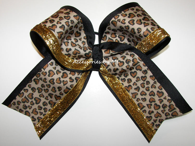 Leopard Sparkly Black Gold Big Cheer Bow