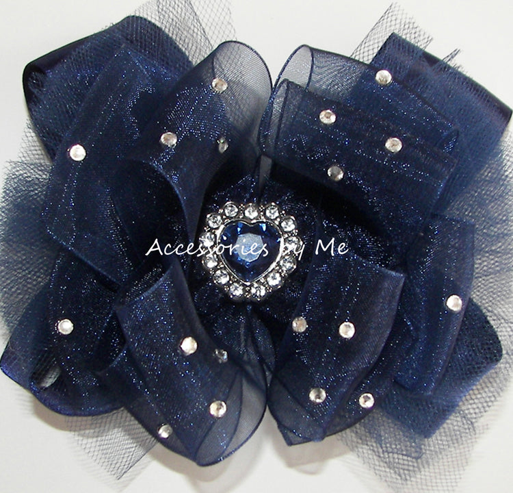 Over the Top Navy Blue Pageant Bow