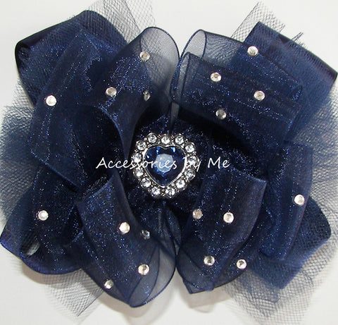 Glitzy Navy Blue Organza Tutu Hair Bow