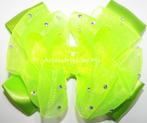 Glitzy Neon Green Organza Satin Hair Bow