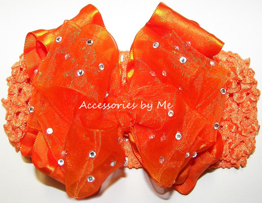 Pageant High Glitz Orange Organza Ruffle Bow Headband - Accessories by Me