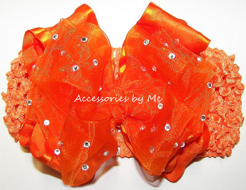 Pageant High Glitz Orange Organza Ruffle Bow Headband