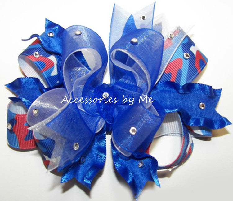 Glitzy Patriotic Camo Red White Blue Ruffle Hair Bow - Accessories by Me