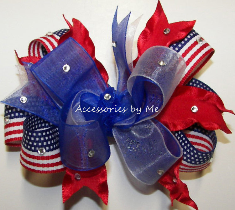 Glitzy Patriotic Red White Blue Flag Hair Bow - Accessories by Me