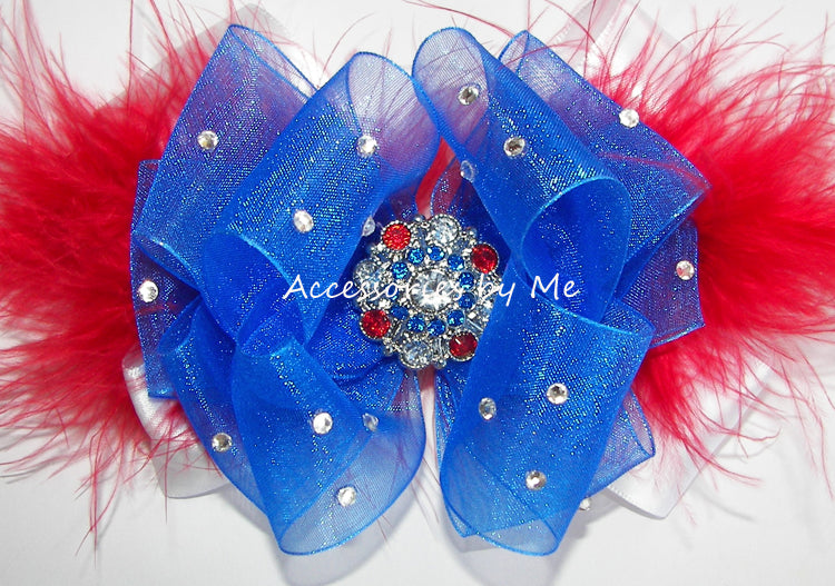 Pageant Patriotic Red White Blue Hair Bow