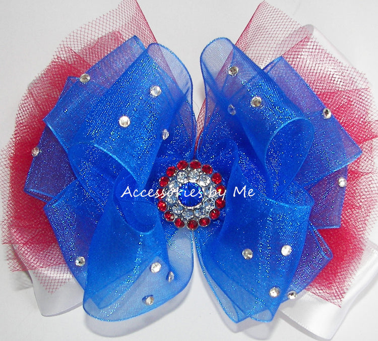 Glitzy Patriotic Tutu Hair Bow