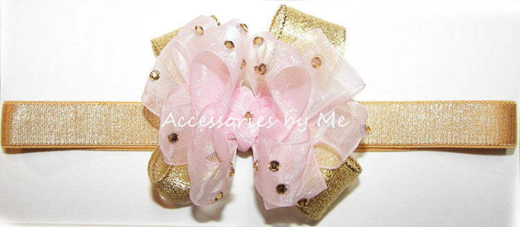 Glitzy Light Pink Gold Bow Baby Headband - Accessories by Me