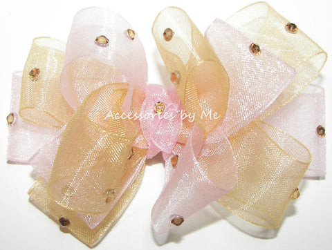 Glitzy Light Pink Gold Organza Hair Bow