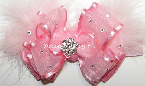 Glitzy Light Pink Marabou Bow Headband