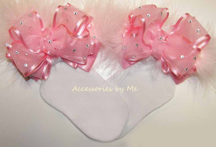 Glitzy Pink Organza Marabou Bow Socks - Accessories by Me