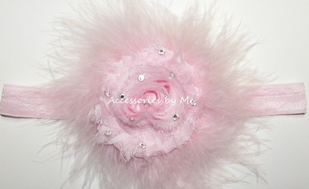 Glitzy Light Pink Shabby Rose Marabou Bow Headband - Accessories by Me