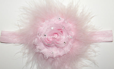 Glitzy Light Pink Shabby Rose Marabou Bow Headband