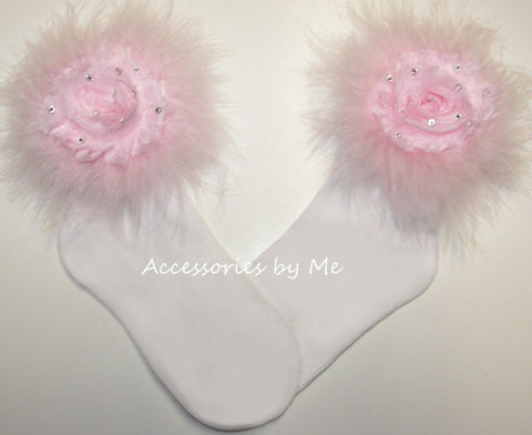 Glitzy Light Pink Shabby Rose Marabou Socks