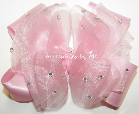 Glitzy Light Pink Organza Satin Hair Bow