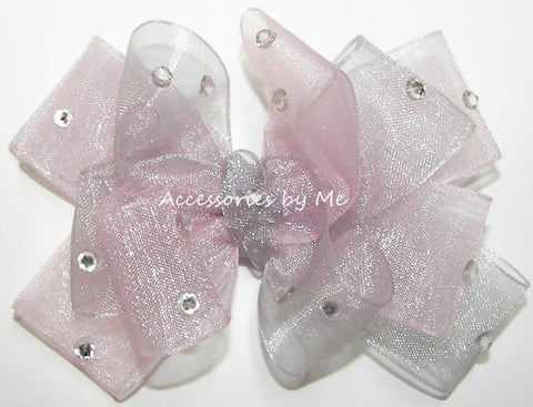 Glitzy Light Pink Silver Organza Hair Bow