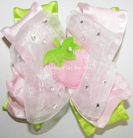 Glitzy Pink Strawberry Shortcake Hair Bow