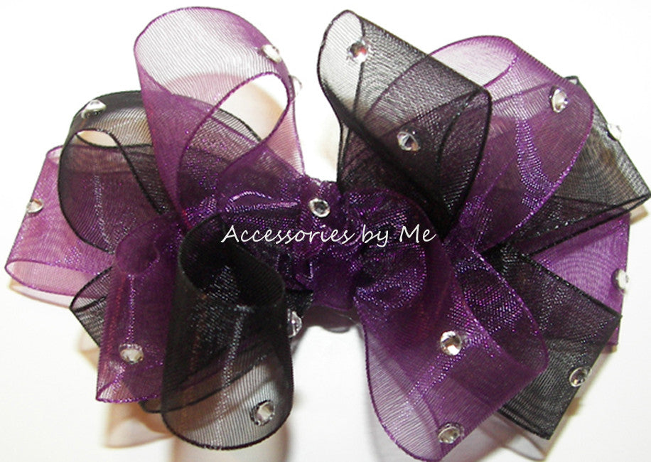 Glitzy Plum Black Organza Hair Bow - Accessories by Me