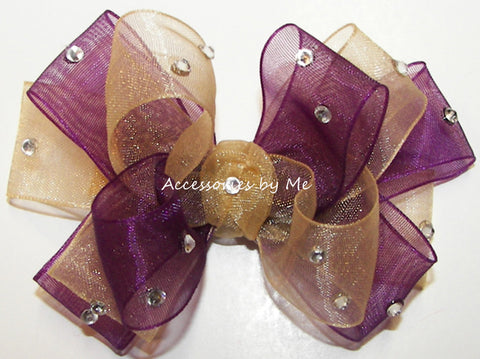 Glitzy Plum Gold Organza Hair Bow
