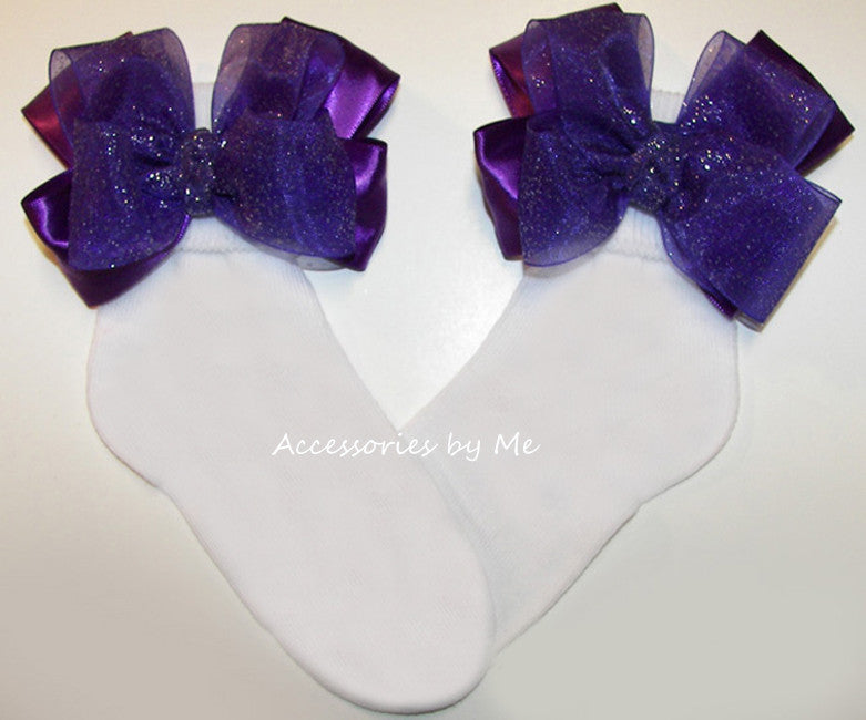 Glitzy Purple Organza Bow Socks - Accessories by Me