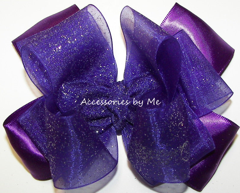 Glitzy Purple Organza Satin Hair Bow - Accessories by Me