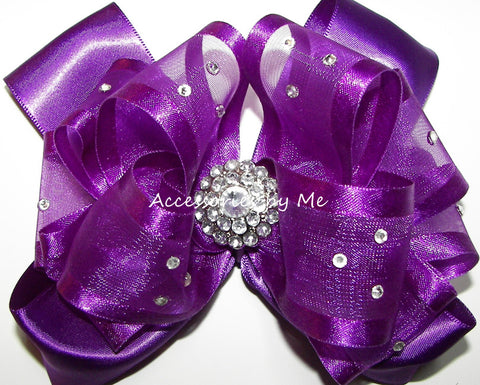 Glitzy Purple Organza Satin Hair Bow