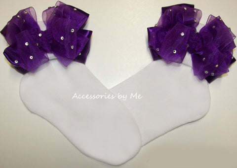 Glitzy Purple Organza Satin Bow Socks