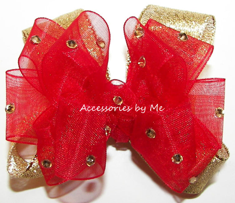 Glitzy Red Gold Hair Bow