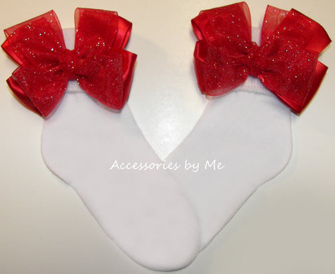 Glitzy Red Organza Bow Socks