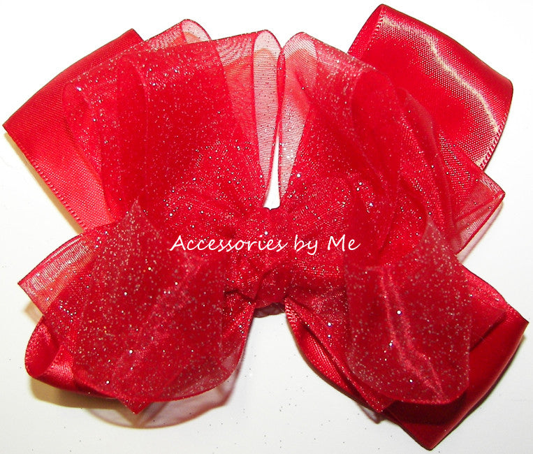 Glitzy Red Organza Satin Hair Bow - Accessories by Me
