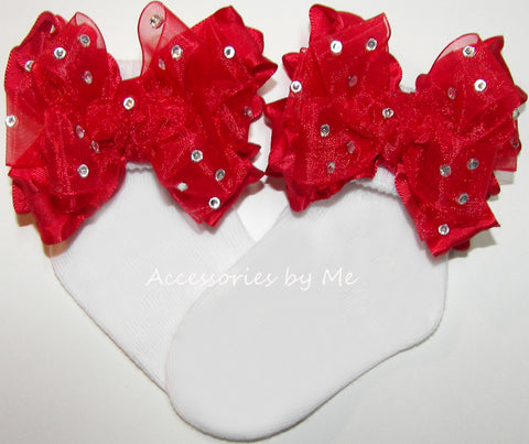Glitzy Red Organza Ruffle Bow Socks