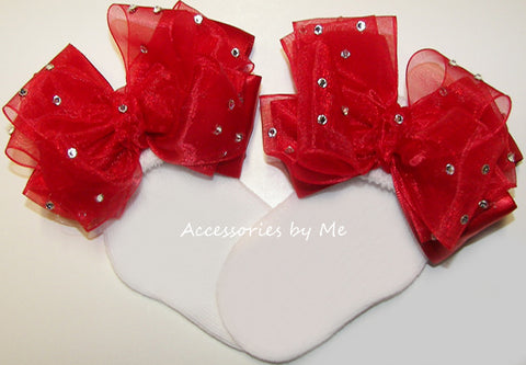 Glitzy Red Organza Satin Bow Socks