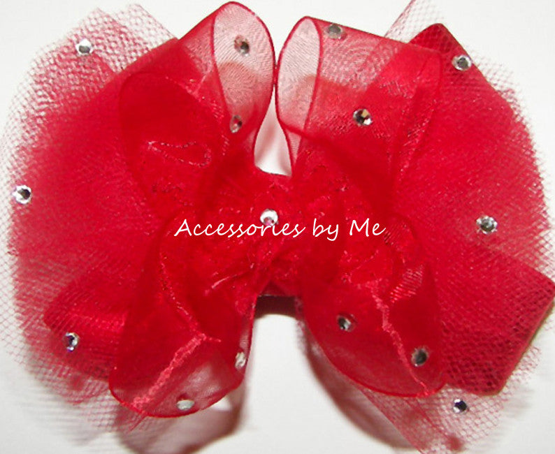 Glitzy Red Organza Tutu Hair Bow