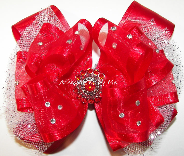 Glitzy Red White Tutu Hair Bow