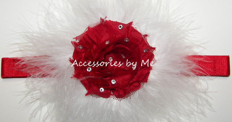 Glitzy Red White Rose Marabou Bow Headband - Accessories by Me
