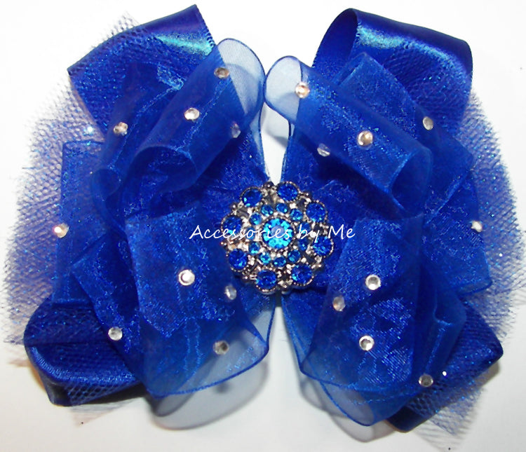 Glitzy Royal Blue Organza Tutu Hair Bow