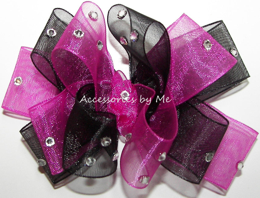 Glitzy Shocking Pink Black Organza Hair Bow - Accessories by Me