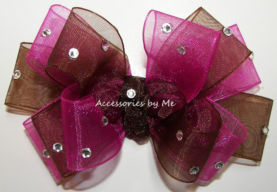 Glitzy Shocking Pink Brown Organza Hair Bow - Accessories by Me