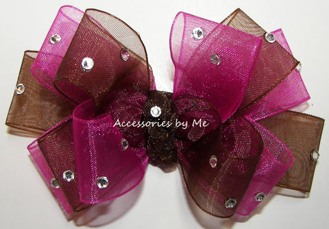 Glitzy Shocking Pink Brown Organza Hair Bow