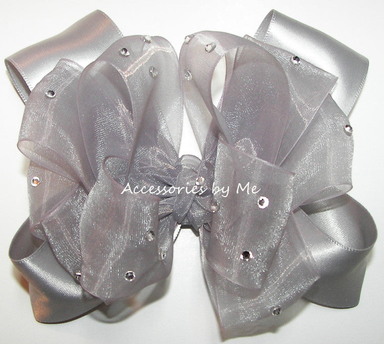 Glitzy Silver Gray Organza Satin Hair Bow - Accessories by Me