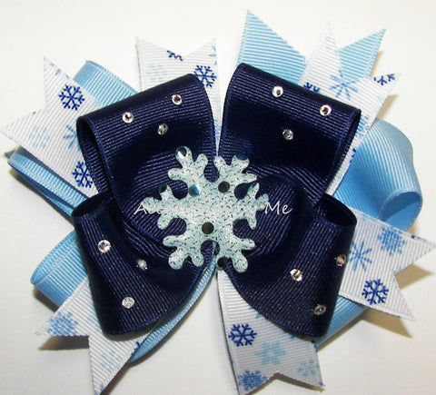 Glitzy Blue Snowflake Hair Bow