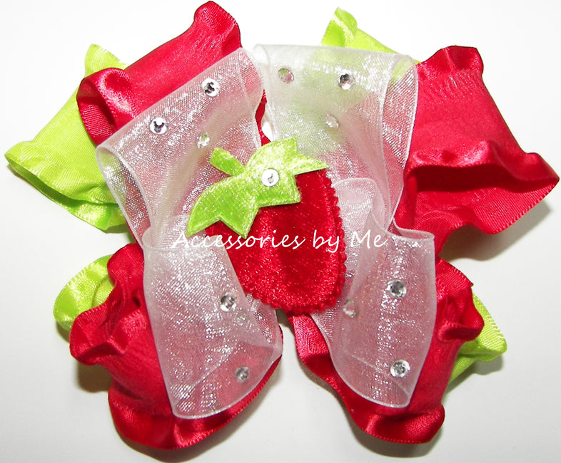 Glitzy Red Strawberry Shortcake Hair Bow