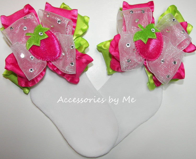 Hot Pink Strawberry Shortcake Bow Socks