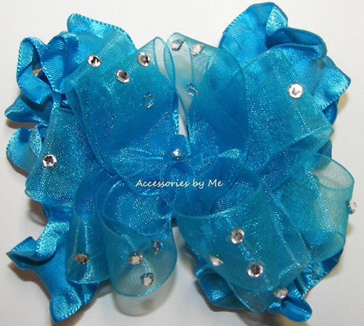 Glitzy Turquoise Blue Organza Ruffle Hair Bow - Accessories by Me