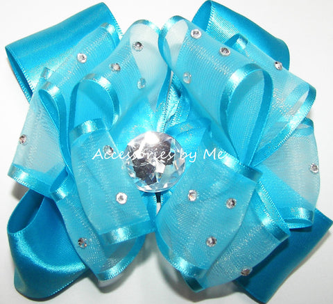 Glitzy Turquoise Blue Organza Satin Hair Bow