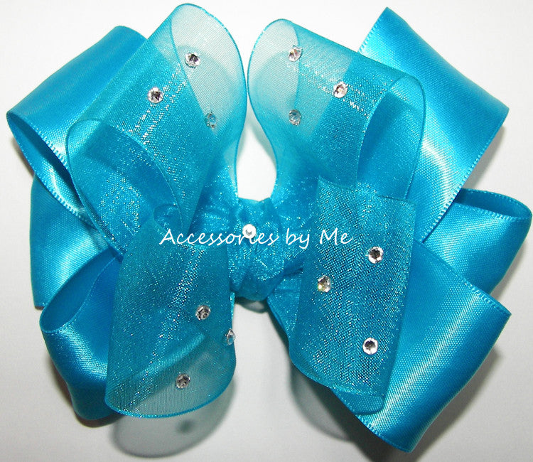 Pageant Turquoise Blue Hair Bow