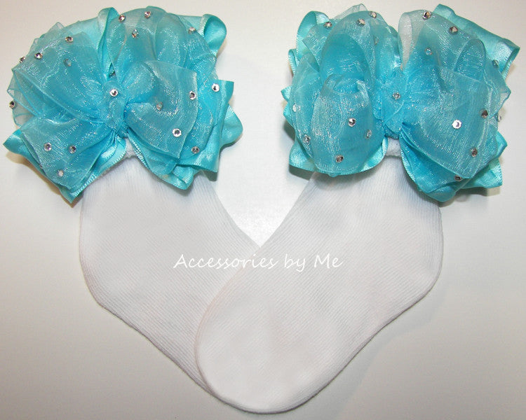 Glitzy Turquoise Organza Ruffle Bow Socks - Accessories by Me