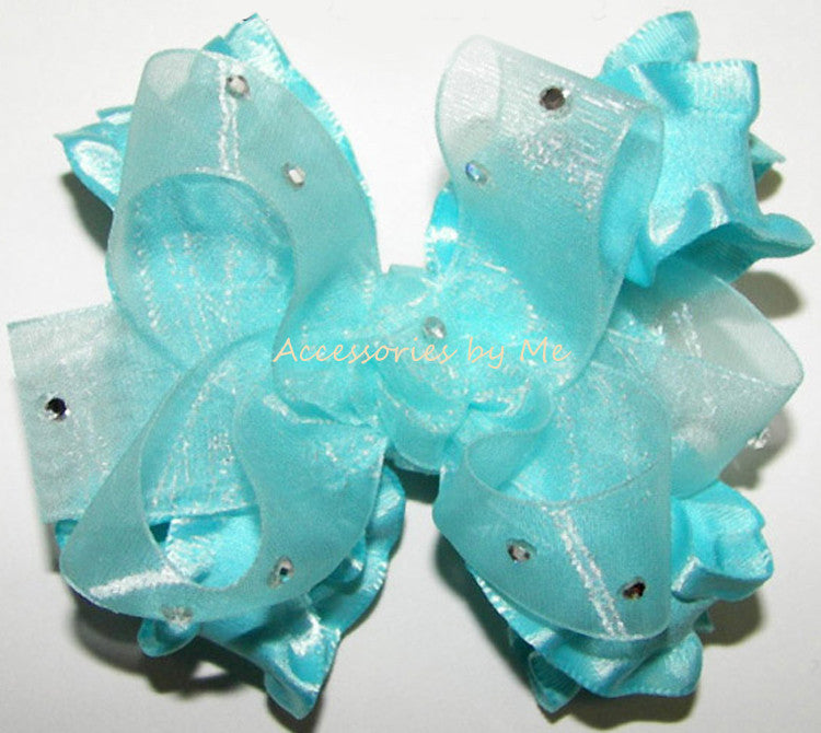 Glitzy Turquoise Organza Ruffle Hair Bow - Accessories by Me